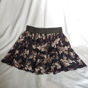Forever 21 Black Floral Miniskirt Sheer and Flowy